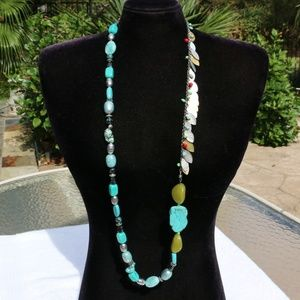 Chicos Long Boho Necklace Stone & Bead Turquoise